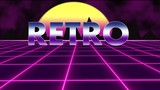 Purple retro-futuristic 80s synthwave grid background  Seamless loop