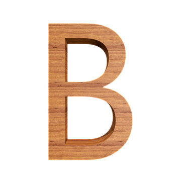 Capital wooden letter B isolated on white background, font for your design, 3D illustration