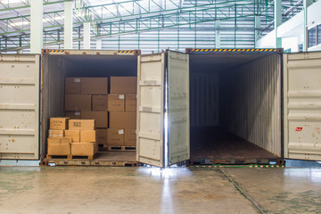 The empty container inside warehouse on shipment area.