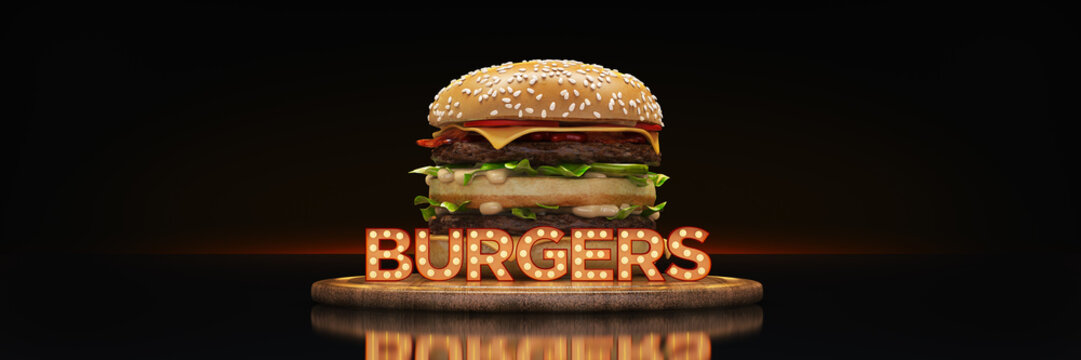 hamburger with neon sign. 3d rendering