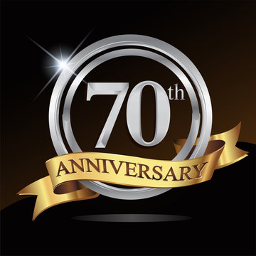 70th anniversary logo, with shiny silver ring and gold ribbon isolated on black background. vector design for birthday celebration.