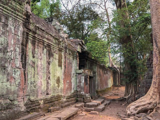 Angkor Cambodia Ancient wall Temples background and exotic travel imagery