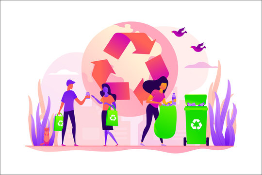 Zero waste, waste free technology, environmental pollution concept. Vector isolated concept illustration with tiny people and floral elements. Hero image for website.