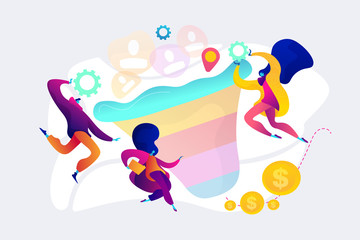 Poster Regenboog Sales funnel management, customer journey representation sales funnel stages concept. Vector isolated concept illustration with tiny people and floral elements. Hero image for website.