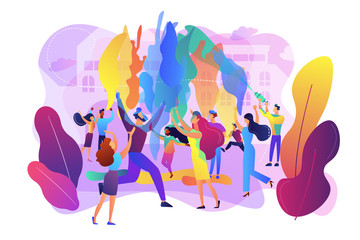 Tiny people enjoying traditional holiday of colors celebration. Holi festival, joyful and colorful festival, city festival day concept. Bright vibrant violet vector isolated illustration