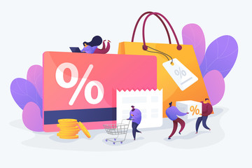 Discount and loyalty card, loyalty program and customer service, rewards card points concept. Vector isolated concept illustration with tiny people and floral elements. Hero image for website. Wall mural