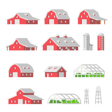 Flat design Barns Farm isolated