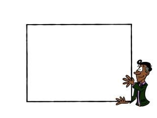 Businessman holding an empty frame
