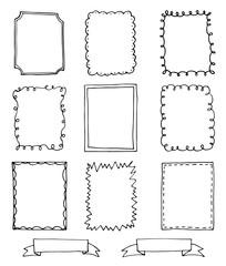 set of hand drawn doodle frames