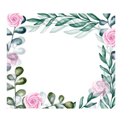 Watercolor flower illustration. Composition, frame, wreath, Individual elements