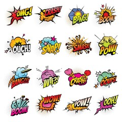 Comics bubbles with speech and sound effect clouds