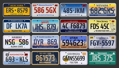 Car registration numbers and license plates in USA Wall mural