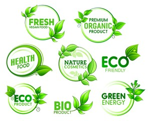 Eco, bio, organic product icons with green leaves