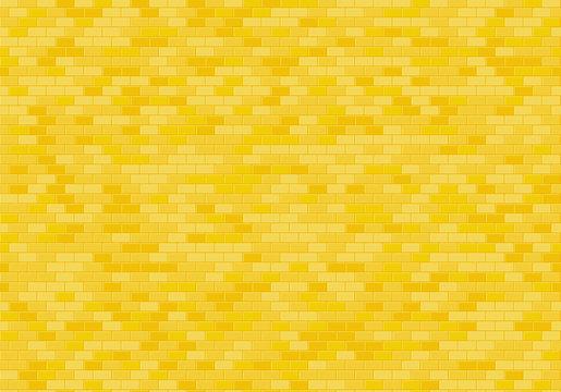 Gold brick wall background. Yellow bricks texture seamless pattern vector.