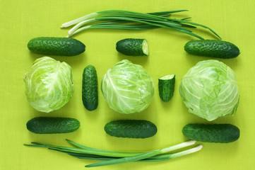 Total green still life of fresh vegetables