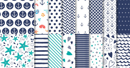 Set of marine and nautical backgrounds in navy blue and white colors Vector Wall mural