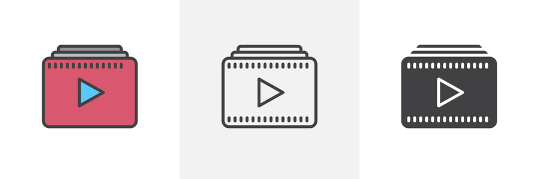 Video playlist icon. Line, glyph and filled outline colorful version, play multimedia player outline and filled vector sign. Symbol, logo illustration. Different style icons set. Vector graphics