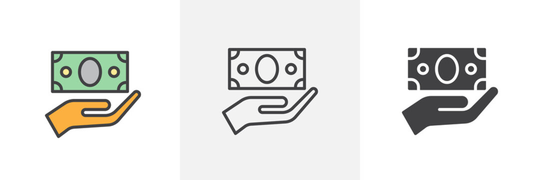 Hand and money bill icon. Line, glyph and filled outline colorful version, Cash money in hand outline and filled vector sign. Symbol, logo illustration. Different style icons set. Vector graphics