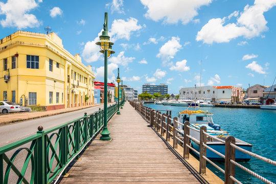 Promenade at marina of Bridgetown, Barbados.