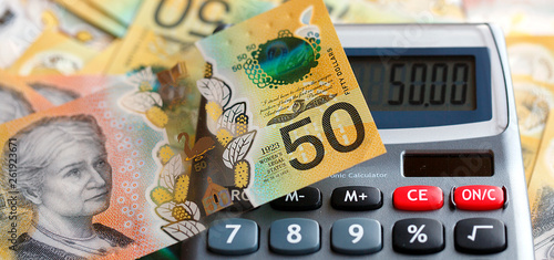 Australian fifty dollar bill over a calculator  The new 2019 issue