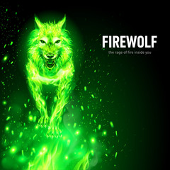 Aggressive Fire Woolf in Sparks. Concept Image of a Green Wolf and Flame on a Black Background