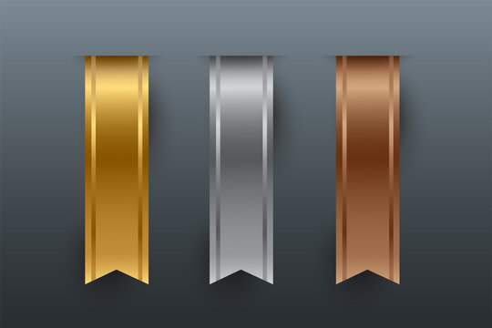 Gold, silver, bronze vertical ribbons isolated on gray background. Vector design elements.
