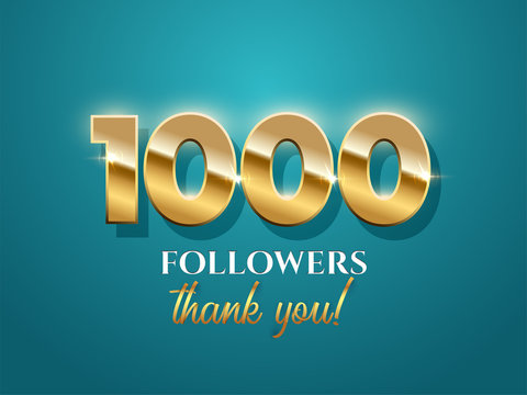 1000 followers celebration vector banner with text on azure background