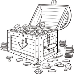 Opened wooden chest with treasures. Vintage sketch vector illustration