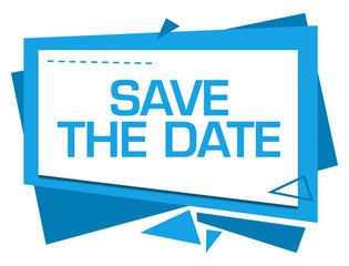 Save The Date Blue Squares Triangles Text