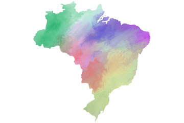 Photo sur Aluminium Amérique du Sud Colorful watercolor Brazil map on canvas background. Digital painting.