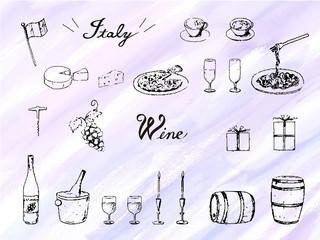 手描きペン画イラストセット 水彩背景 ワイン イタリアン