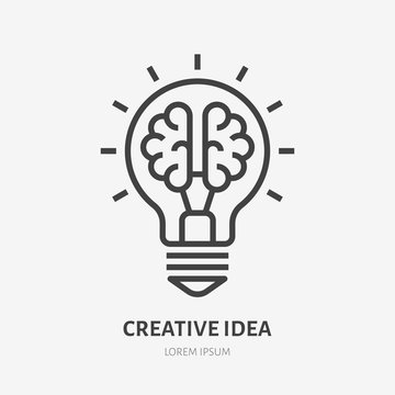 Creative idea flat line icon. Brain in lightbulb vector illustration. Thin sign of innovation, solution, education logo
