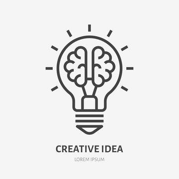 Creative idea flat line icon. Brain in lightbulb vector illustration. Thin sign of innovation, solution, education logo