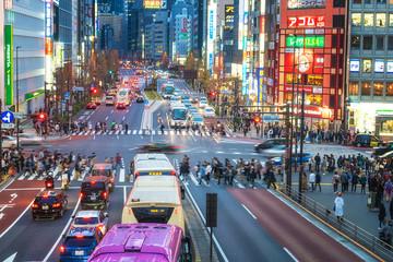 Shinjuku,Japan-04 06 2019:Crowded street of the district of Shinjuku at night