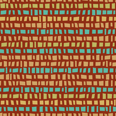 Blue and gold mosaic prairie style horizontal striped design. Seamless vector pattern on burnt siena background. Great for wellness products, fabric, packaging, stationery, home decor, giftwrap