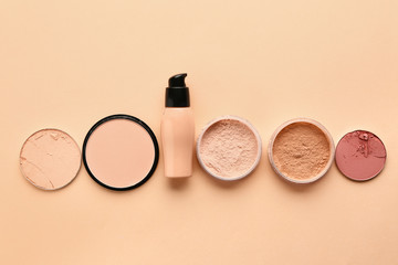 Set of cosmetics on color background