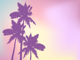 Printed kitchen splashbacks Purple Background with silhouette of palm trees and tropical sunrise. Vector iilustration