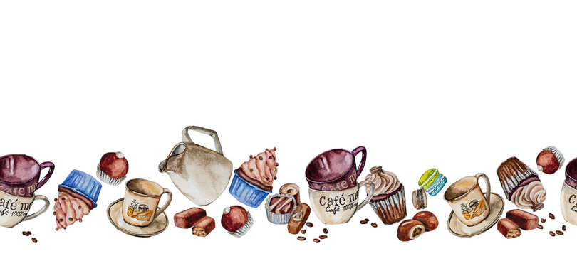 Cups, cupcakes and candies painted in watercolor.