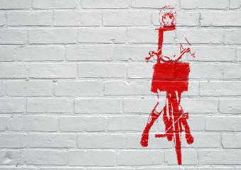 In de dag Graffiti Street art. Femme faisant du vélo