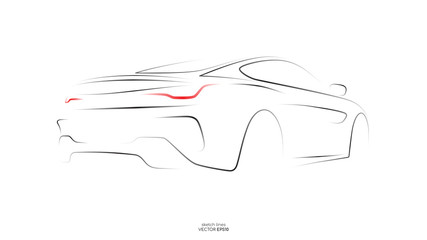 Modern car sketch line silhouette rear view isolated on white background. Vector illustration in concept technology electric car, self drive car