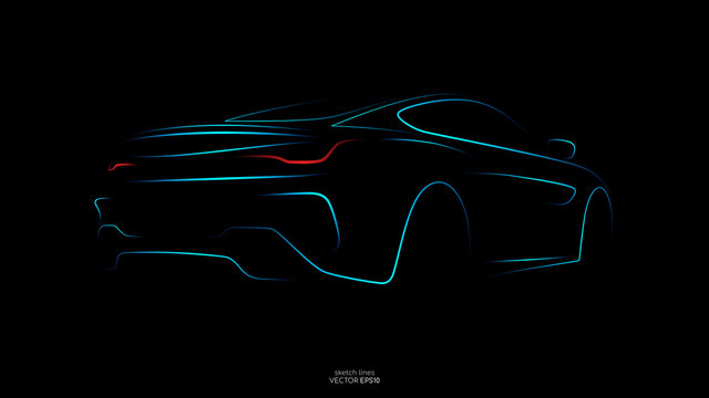 Modern car sketch line silhouette rear view in blue light lines and red tail light isolated on black background. Vector illustration in concept technology electric car, self drive car