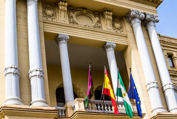 Ayuntamiento in Malaga. 19th century baroque style Town Hall building. Designed by Fernando Guerrero Strachan and Manuel Rivera Vera 1919. Malaga Province, Costa del Sol, Andalucia, Spain