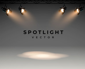Spotlights with bright white light shining stage vector set. Illuminated effect form projector, illustration of projector for studio illumination eps 10 - fototapety na wymiar