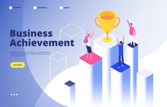 Success team isometric concept. Business triumph achievement corporate mission best award competition winner goal vector background. Illustration of business goal isometric, winner success