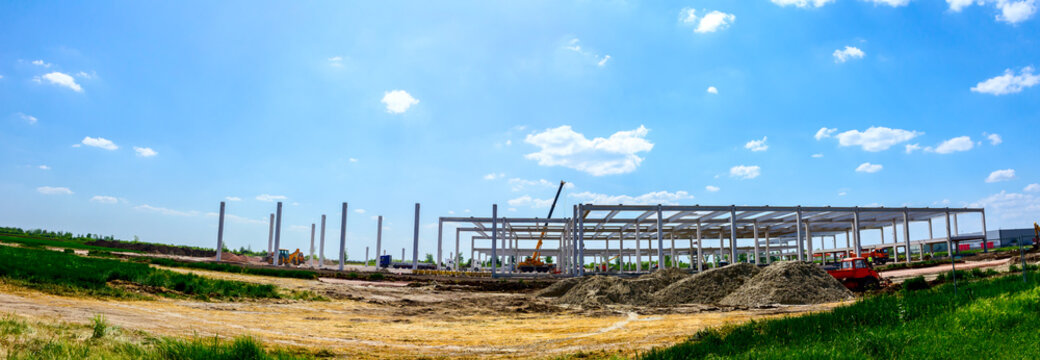 Panoramic view on landscape transform into industrial building machinery, people are working