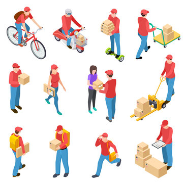 Delivery isometric. Couriers deliveries postman guys delivering box motorcycle scuter courier 3d isolated vector characters. Isometric delivery, deliveryman package illustration