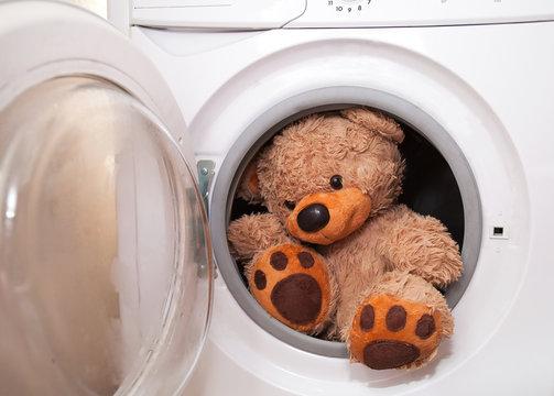 Teddy bear washing and drying