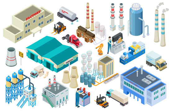 Isometric industrial buildings, workers, delivery trucks, factory and warehouse vector collection. Illustration of isometric industry, building industrial