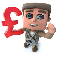Funny cartoon 3d hiker scout character holding UK Pounds sterling currency