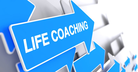 Life Coaching - Label on the Blue Pointer. 3D.